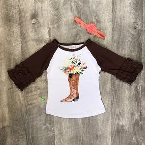 New boutique cowgirl boot raglan top
